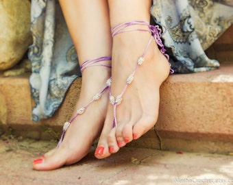 Bridal barefoot sandal. Purple silver beaded crochet barefoot sandles, beach wedding foot jewelry, sexy foot thing