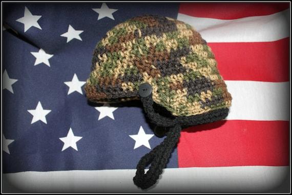 Crochet Baby Marine Hat Pattern : Items similar to Crochet army helmet, combat helmet, army ...
