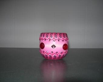 Fimo glass votive candle holder (bejewled Pink)