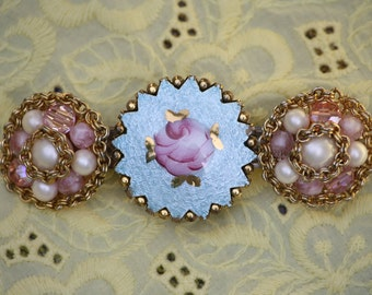 Barrette made from vintage blue Guilloche brooch