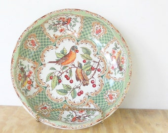 Vintage Daher Green Litho Tin Bowl, Tea Party, Ca. 1971, Robin Red Breast, Home and Living