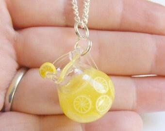 Food Jewelry Lemonade Necklace, Lemonade Pendant, Pitcher, Jug, Miniature Food, Handmade Jewelry, Mini Food Jewelry, Miniature Bottle Kawaii