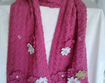 Dark Pink Crochet Scarf adorned with flowers and beads
