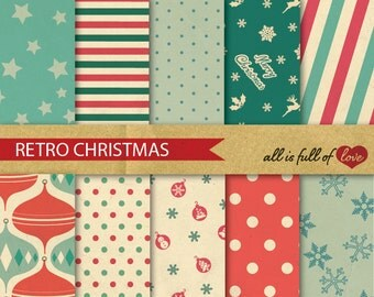 Digital CHRISTMAS Paper Pack RED Green Scrapbooking Patterns Christmas clipart polka dots paper red turquoise green christmas wrapping
