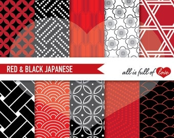 Japanese Paper, digital papers, commercial use, scrapbook papers background black red Chinese New Year Paper pack digital geometric papers