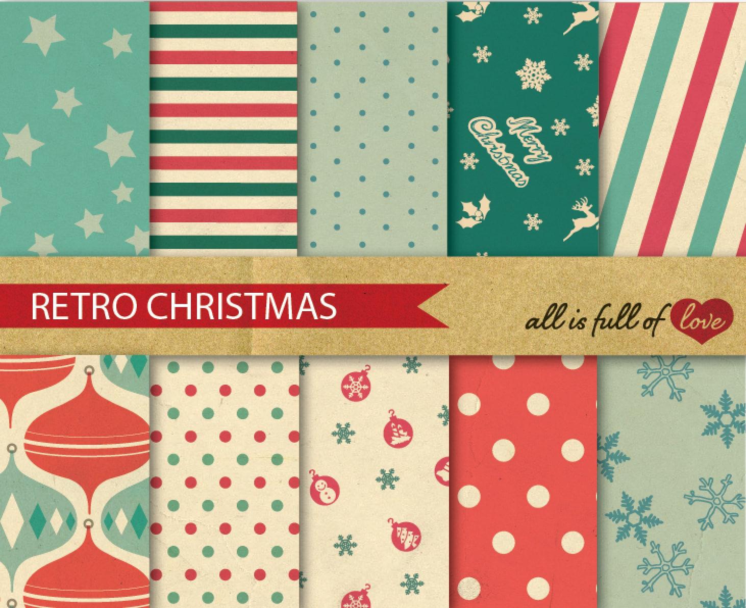 Printable paper backgrounds christmas - Christmas Vintage Printable Paper Pack Digital Scrapbook Patterns