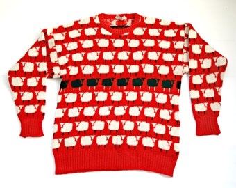 Vintage Knitted Sheep Jumper in Red