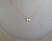 Tiny Gold Dog Bone Necklace