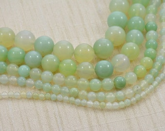 """Strand Round Green Garnet Jade Beads --- 4mm 6mm 8mm 10mm 12mm can be selected --- 15~15.5"""" in Length"""