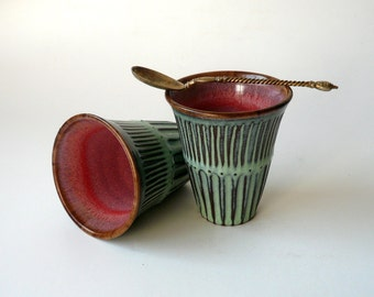 Pottery, Set of Two Ceramic Cups in Mint and Plum Pink, Espresso Cups, Americano Cups, Shot Glass, Hand Carved by Cecilia Lind, StudioLind