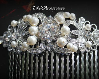 Silver Rhinestone Hair Comb, White Ivory Gold Pearl Comb, Bridal Hair Comb, Wedding Hair Accessories, Bridal Headpieces, Wedding Hair Comb