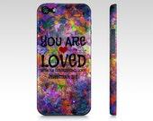 YOU ARE LOVED God Christian Jesus Scripture Art iPhone 5s 5c Se 6 6s 7 Plus Case Purple Heart Floral Jeremiah Faith Belief Religious Bible