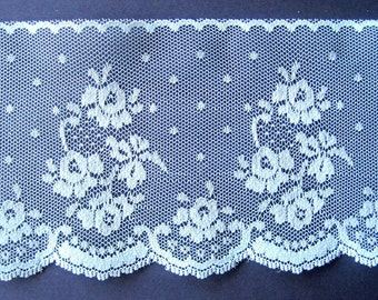 "Floral Lace With Scalloped Edge, Aqua, 3 7/8"" inch wide, 1 Yard, For Victorian & Romantic Projects"