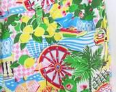 90s Dolce & Gabbana resort summer capris in Italian Riviera theme vibrant novelty print: size sml