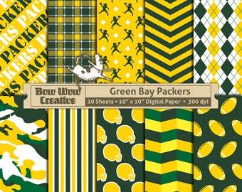 10 Green Bay Packers, Digital Scrapbook Paper, Scrapbooking, Patterned, Football Scrapbook Paper, instant download