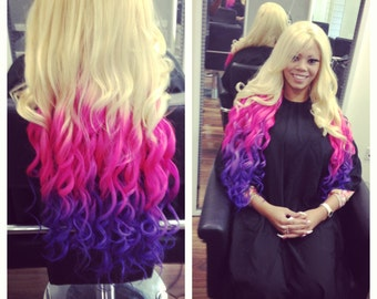 Full WEFT of Human Hair extensions OMBRE blends!  Clip in Hair Extensions Hot Pink & Purple blends *Feather extensions