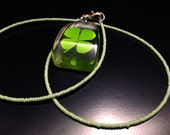 Genuine 4-leaf Clover Pendant with Pale Green Seed Bead Necklace