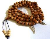 MALA NECKLACE - 108 Sandalwood Beads - Angel Wing Charms - Yoga - Meditation - Prayer - Healing - Hand Knotted - Garland