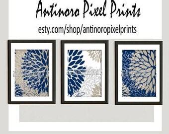 Floral Navy Khaki White Vintage / Modern Inspired Ikat Art Prints Collection  -Set of (3) -11 x 14 Prints - (UNFRAMED)