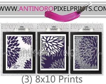 Dark Purple Grey Floral Vintage / Modern inspired  Art Prints Collection  -Set of (3) - 8x10 Prints -   (UNFRAMED)