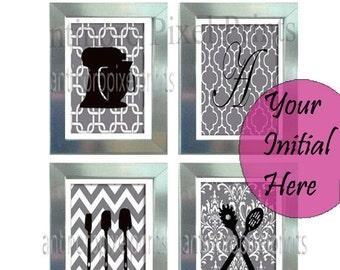Monogram Digital Wall Art Black White Grey Unframed Kitchen Utensils Art Collection  -Set of (4) - 8x10 Prints