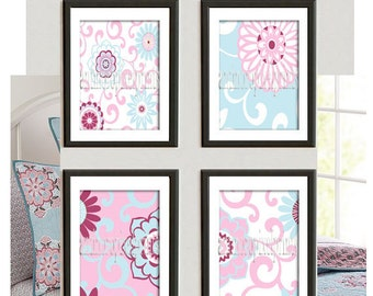 Brooklyn Ikat Art Baby Nursery Art Prints Collection  -Set of (4) Wall Art Prints -Baby Pink Blue White   (UNFRAMED)