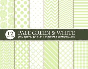 BUY 1 GET 1 FREE - 12 Pale Green & White Digital Scrapbook Paper, digital paper patterns for card making, invitations, scrapbooking