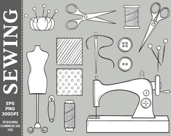 50% OFF SALE Hand Drawn Digital Sewing Clip Art Sewing Machine, Buttons, Threads, Scissors Clip Art