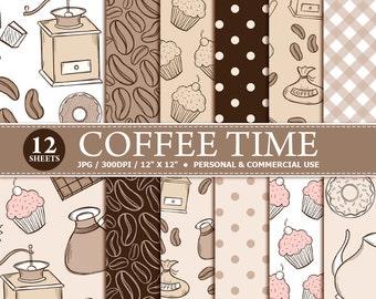70% OFF SALE 12 Coffee Time Digital Scrapbook Paper, digital paper patterns for card making, invitations, scrapbooking