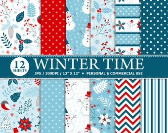 70% OFF SALE 12 Winter Digital Scrapbook Paper, digital paper patterns for card making, invitations, scrapbooking - Instant download