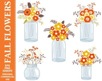 70% OFF SALE Digital Fall Flowers in Mason Jars Clip Art - Jars, Autumn, Fall, Flowers, Bouquets, Compositions Clip Art.