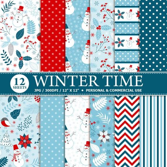 12 Winter Digital Scrapbook Papier download digitale