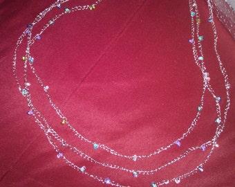 Glass beaded wire crochet triple strand necklace