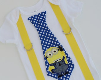 Two Eyed Minion Inspired Tie T  Shirt With Suspenders   Sizes 0-6mo, 6-12mo, 12-18mo, 18-24mo, 2t, 3t, 4t, 5/6, 7/8