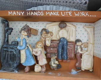 Darling Salt Dough Creation Kitchen Scene in Box How Cute is This Shadow Box /Diarama