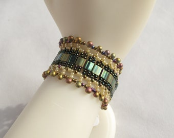 Green And Gold Woven Beaded Cuff with Magnetic Clasp