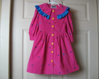 Bright Pink Embroidered Corduroy Dress - size 5