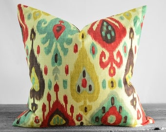 4th of July SUMMER SALE!!!! Pillow Cover - Richloom Django Ikat Jubilee - Gold Aqua Red Plum and Ivory Pillow - Pick Your Pillow Size