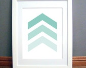 Mint Green Chevron Arrows, Chevron Wall Art, Chevron Wall Print, Mint Green, Green Art, Mint Wall Art