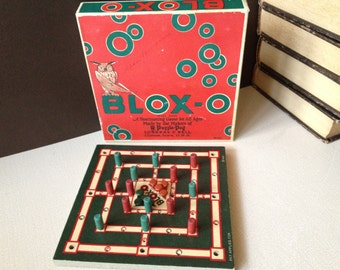 Vtg USA // 1920s Puzzle Peg Game by Lubbers & Bell // Blox-O