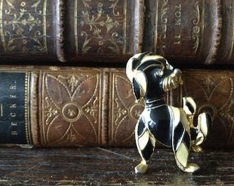 Vtg French Poodle Brooch Pin // Black Enamel & Brass