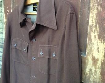 Brown Silk Lined Wool Jacket by Sulka Co, 1960s, Size 6, 8 Women