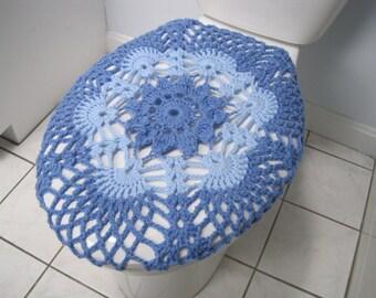 Crochet Toilet Seat Cover - light periwinkle/light blue (TSC9G)