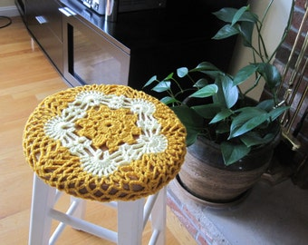 Crochet Bar Stool Cover/Cozy - gold/yellow (CBSC1B)