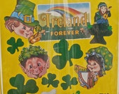 St Patricks Day Decoration,  Ireland Forever Sign, 1984 Vintage, 12 Party Supplies, Shamrock Cutouts, Leprechaun Centerpiece
