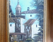 Mediterraean Oll-on-Canvas Signed Landscape Painting, 18 x 11 Simple Wood Frame,