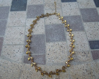 Vintage Leaf Necklace, Gold Tone with Yellow/Pale Brown Beads in a Leaf Setting