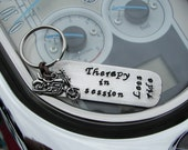 Hand Stamped Keychain / Therapy in session / Lets ride With a motorcycle Charm