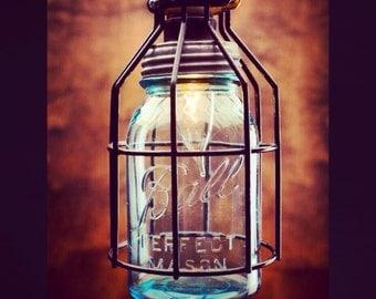 Mason Jar Light, Single Drop Chandelier, blue jar light