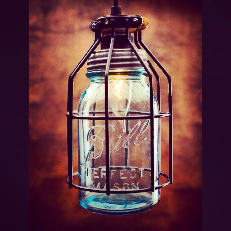 Mason Jar Light Single Drop Chandelier Blue Jar Light